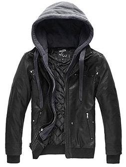 Wantdo Men's Pu Leather Jacket with Removable Hood US Medium