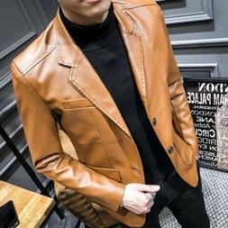 vogue men s faux leather blazer coats
