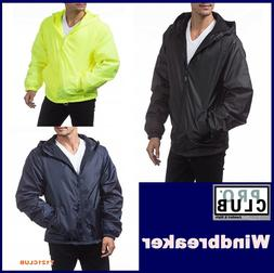 PRO CLUB WINDBREAKER MENS LIGHTWEIGHT WATERPROOF HOODED RAIN
