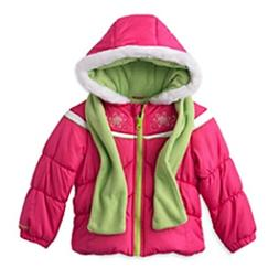 London Fog Girls Pink Winter Coat & Scarf Ski Jacket Set Siz