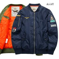 Winter Men MA-1 Flight Jacket Bomber Coat Man Pilot Army Mil
