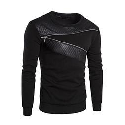 IEason Men Top Men Winter Warm Splicing Leather Sweatshirt C