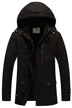 WenVen Men's Winter Windbreaker Thicken Jacket