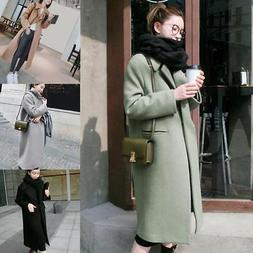 Winter Women's Fashion Warm Wool Lapel Long Coat Jacket Tren