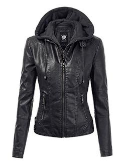WJC1044 Womens Faux Leather Quilted Motorcycle Jacket With H