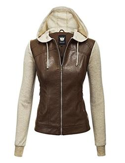Lock and Love WJC1347 Womens Faux Leather Zip Up Moto Biker