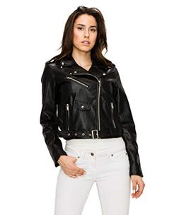 Lock and Love WJC1848 Womens Faux Leather Moto Biker Jacket