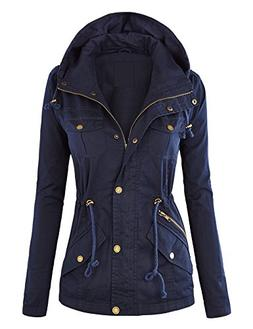 WJC643 Womens Pop Of Color Parka Jacket XL Navy