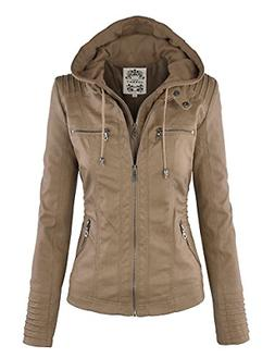 WJC663 Womens Removable Hoodie Motorcyle Jacket L KHAKI