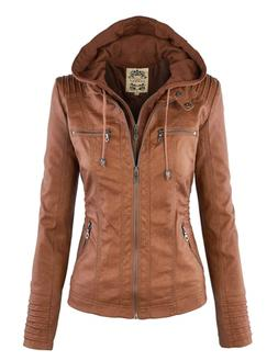 WJC663 Womens Removable Hoodie Motorcyle Jacket M CAMEL