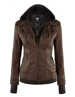 WJC664 Womens Faux Leather Jacket With Hoodie S Coffee