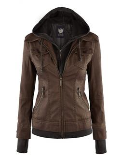 WJC664 Womens Faux Leather Jacket With Hoodie L Coffee