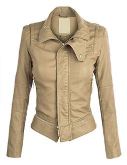 WJC864 Womens Faux Leather Mock Collar Zip Up Biker Jacket X