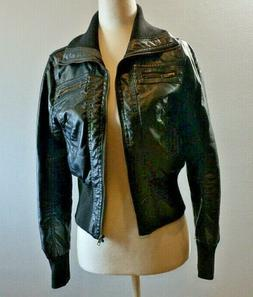 Ambiance Apparel Women Black Faux Leather Jacket Small