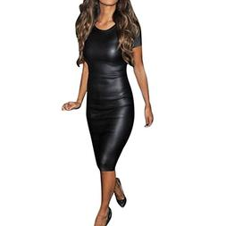 Hemlock Women Bodycon Midi Dress, Ladies Faux Leather Dress
