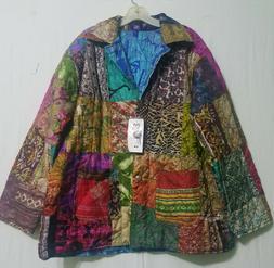 Women Clothing Reversible Light Weight Vintage silk Jacket P