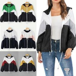 Women Color Block Windbreaker Zip Up Hoodie Coat Loose Sweat