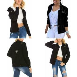 Women Denim Jackets Distressed Button Down Long Sleeve Class