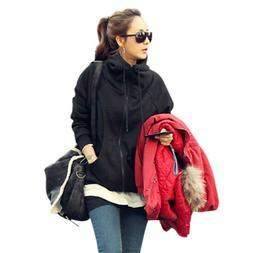 Women Fashion Long Sleeve Hoodies Zipper Jackets Loose Sweat