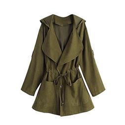 Women Jacket Hooded Long Sleeve Windbreaker Parka Pockets Ca
