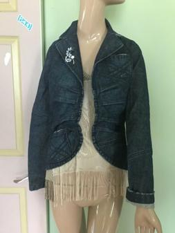 Epoch Women's Blue Denim Jean Blazer Jacket Size Large 100%