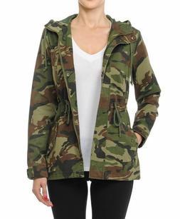 Women's  Camouflage Anorak Military Camo Drawstring  Hooded