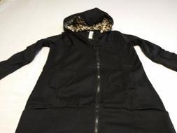 DJT Women's Casual Black Hooded Lightweight Jacket, Size L