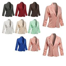 FashionOutfit Women's Casual Solid One Button Classic Blazer