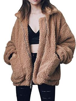 Gzbinz Women's Casual Warm Faux Shearling Coat Jacket Autumn