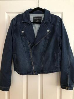 Maurices Women's Denim Motorcycle Style jean jacket XL SOFT