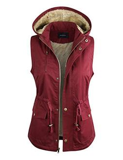 makeitmint Women's Detachable Hooded Faux Fur Lined Anorak U