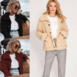 Women's Faux Fur Coat Tops Shaggy Parka Jacket Fleece Outerw
