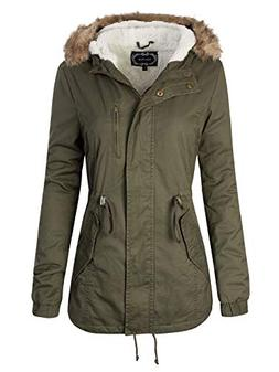 Instar Mode Women's Faux Fur Hoodie Sherpa Lined Military Sa