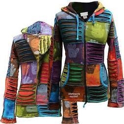 Women's Henna Hand Rib Hoodie Multicoloured Boho Hippie Cott