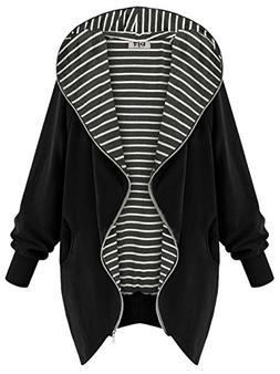 DJT Women's Hooded Zip-up Lightweight Coat Jacket Small Blac