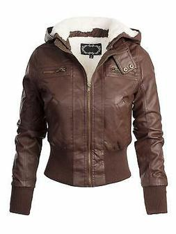 Ambiance Women's Jacket Brown Size Large L Motorcycle Faux-L