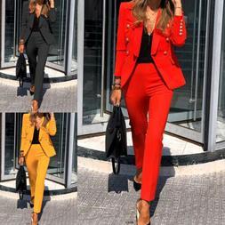 Women's Jacket Pant Suits Office Formal Blazer Uniform OL Wo
