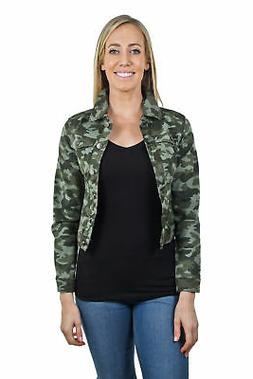 Women's Juniors Premium Stretch Denim Long Sleeve Camouflage