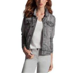 Buffalo Women's Knit Soft Denim Jacket, Gray, Size XL, Denim