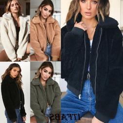 Women's Ladies Warm Teddy Bear Fleece Tops Jacket Zip Up Ove