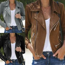Women's Ladies Zip Up Casual Suede Leather Jacket Flight Coa