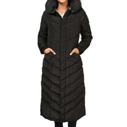 Steve Madden Women's Large Long Puffer Coat Jacket Black Che