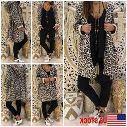 Women's Leopard Hooded Long Coat Cardigan Loose Outwear Kimo