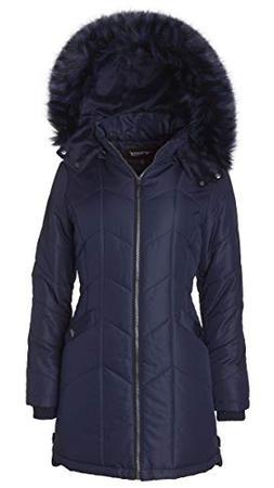 Women's Long Down Alternative Puffer Coat Detachable Plush L