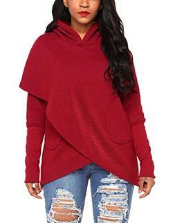 Asvivid Women's Long Sleeve Asymmetrical Hoodies Wrap Outerw
