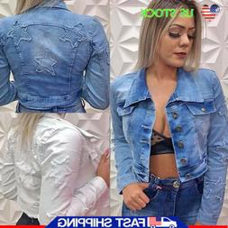 Women's Long Sleeve Denim Jacket Ladies Casual Cropped Coat
