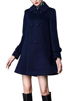 Gihuo Women's Loose Wool Coat Double Breasted Swing Pea Coat