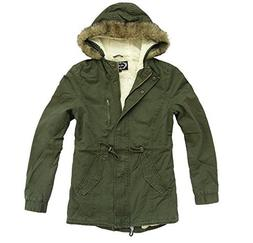 Ambiance Women's Military Army Hooded Sherpa Lining Drawstri