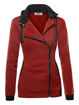 DJT Women's Oblique Zipper Slim Fit Hoodie Jacket Medium Dar