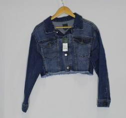 Women's Oversized Cropped Blue Denim Jacket Medium Wash Wild